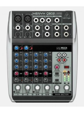 Behringer XENYX Q802USB 8-Input 2-Bus Mixer and USB/Audio Interface